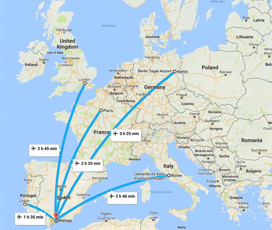 Distancias entre Andalucia y principales capitales europeas. Mapa google maps. 10 cifras curiosas para describir a Andalucía